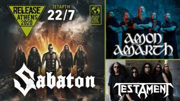 Release Athens 2020: Sabaton, Amon Amarth, Testament