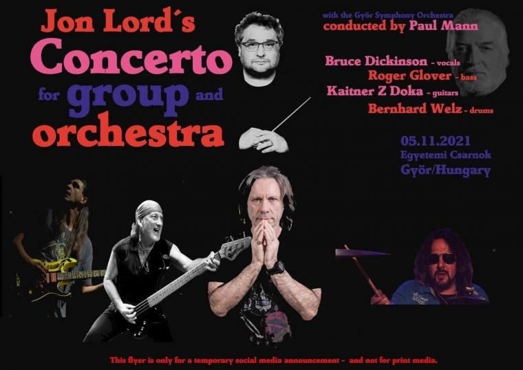BRUCE DICKINSON, ROGER GLOVER TO PERFORM JON LORD'S 'CONCERTO FOR GROUP AND ORCHESTRA' IN HUNGARY IN NOVEMBER